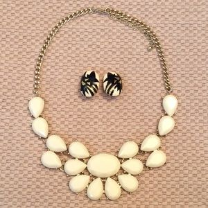 Monet earrings with statement necklace